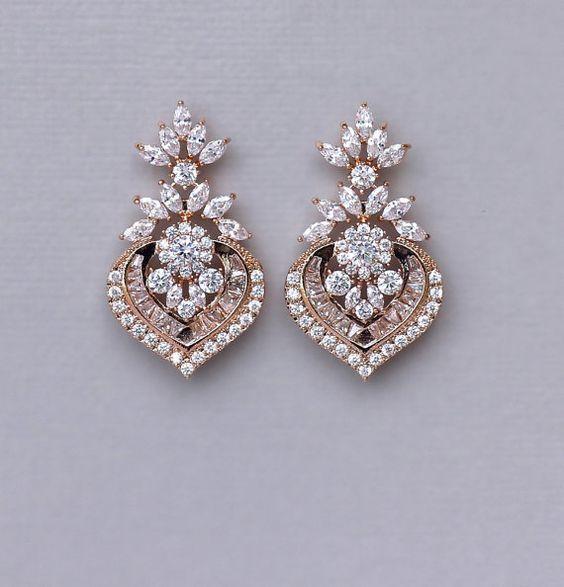 Rose Gold Kristall Braut Ohrringe, Marquise CZ Aussage Hochzeitsschmuck Roségold, Taylor RGC