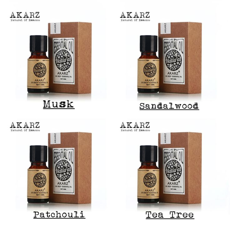 Famous brand AKARZ  100% Pure Musk Sandalwood Patchouli Tea tree Essential Oils Pack For Aromatherapy, Massage,Spa Bath 10ml*4
