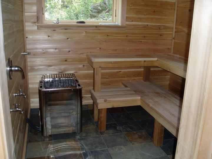 A Sauna In The Basement Cedar Walls And Benches Slate