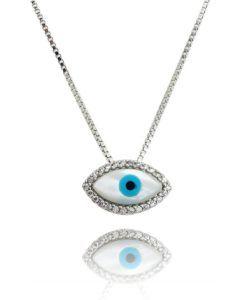 colar olho grego madreperola com zirconias prata