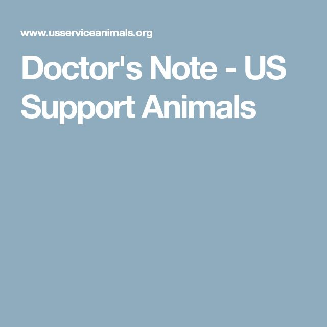 Doctor's Note - US Support Animals