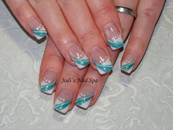 Acrylic with turquoise nail art.