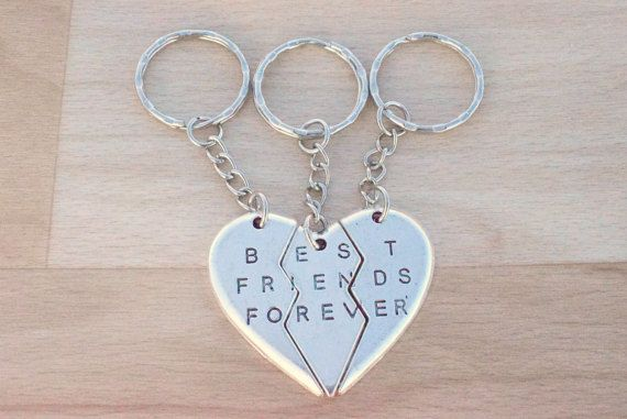 Silver Best Friends Forever Keychain  Friendship Keychain