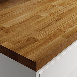 Wickes Worktop Solid Wood Dark Oak 3000 x 600 x 38mm