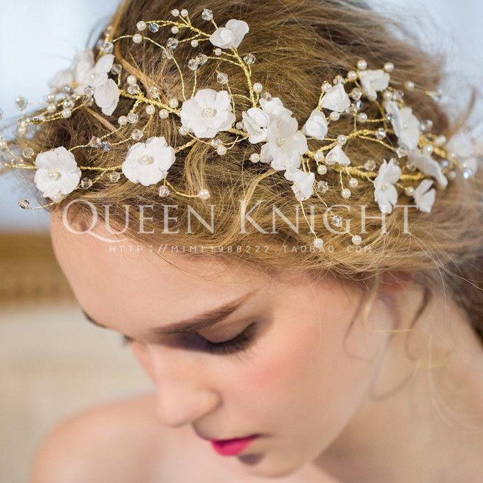 Европейские и американские высокого класса ручной бахромой красивые белые цветы полосы жемчуг кристалл волос оголовье головной убор невесты фото - Taobao