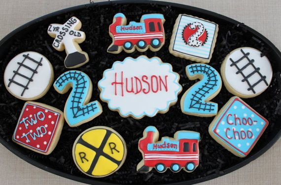 This listing is for 12 adorable Train Themed Birthday Sugar Cookies. These would be perfect for your childs birthday party or baby shower. Your