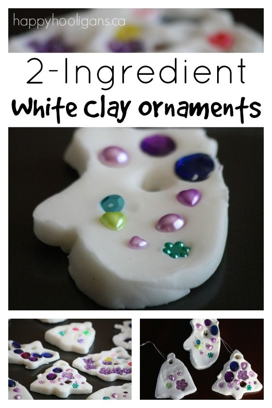 Easy, gorgeous white clay ornaments!  It's just baking soda and cornstarch.  You just add water, heat and stir.  This stuff makes the brightest, whitest ornaments ever!  So fun and easy for preschool Christmas crafts! - Happy Hooligans