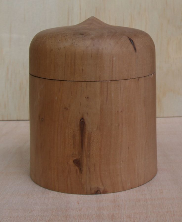 Turned Pear Box by Frank Duyker. This is a fairly conventional turned box made from some reclaimed pear wood.