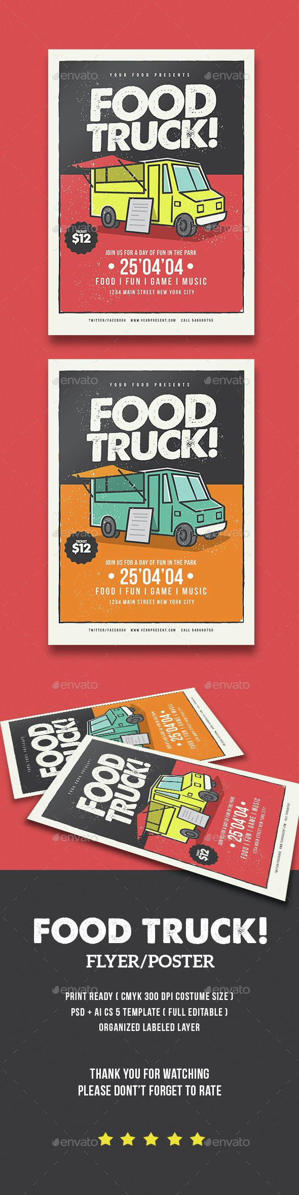Poster design with a lot of text - Food Truck Flyer