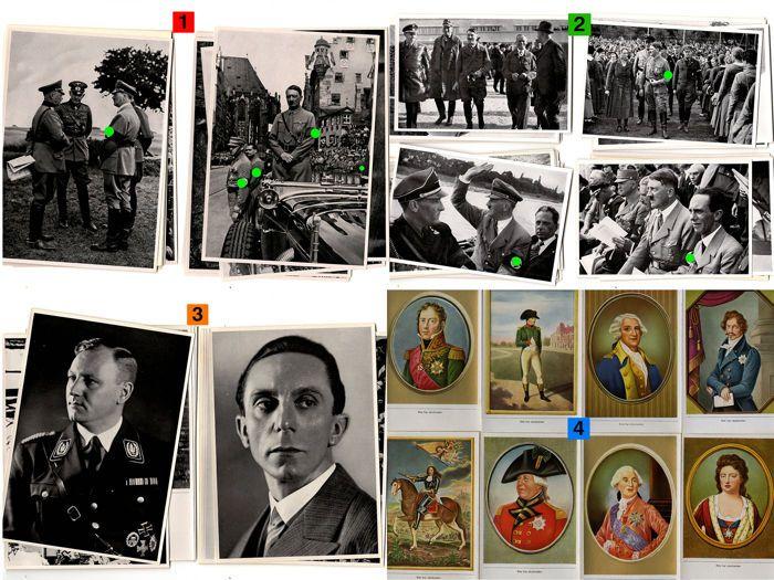 """Veel 300 foto's / 25 foto's """"Adolf Hitler"""" - 75 beelden """"Deutschland erwacht""""  200 beelden """"Gestalten der toenmalige"""" rond 1935 - sigaret beelden  Positie 1:25 foto's: """"Adolf Hitler"""" - picture group 63 (compleet) - goede conditie uit collectie nr. 15 uit 1935 fotoformaat 17 x 12cm - taal: Duits - rond 1934 - zwart-witPositie 2:50 foto's: """"Adolf Hitler"""" - picture group 32 (compleet) - zeer goede staat uit collectie no. 8 """"Deutschland erwacht"""" uit 1934 Afbeeldingsgrootte 12 x 8 cm taal: Duits…"""
