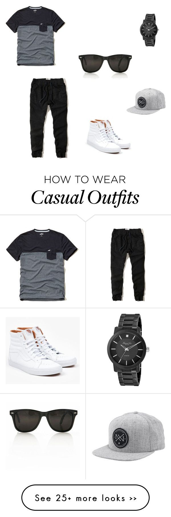 """Casual day for guys"" by omgherica on Polyvore featuring Hollister Co., Vans, Nixon and Kenneth Cole"