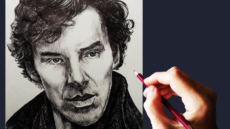 Портрет. Холмс. Шариковой ручкой