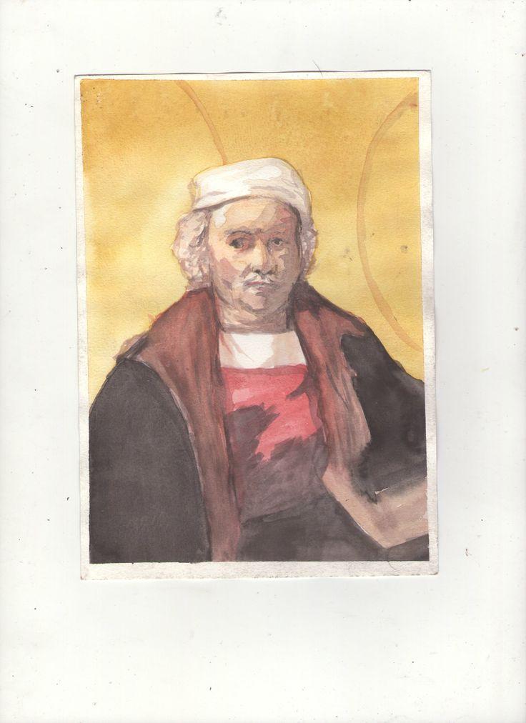 Copia retrato rembrandt, acuarela