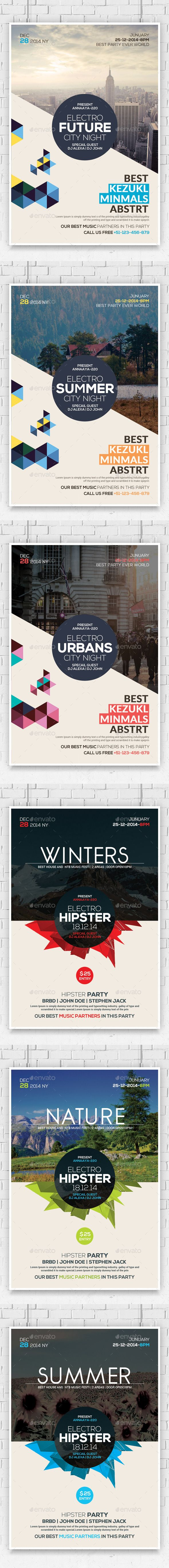 Hipster Party Flyers Bundle (CS, 4x6, abstract, album, clean, club, club flyer, design, electro, flyer, future, futuristic,…