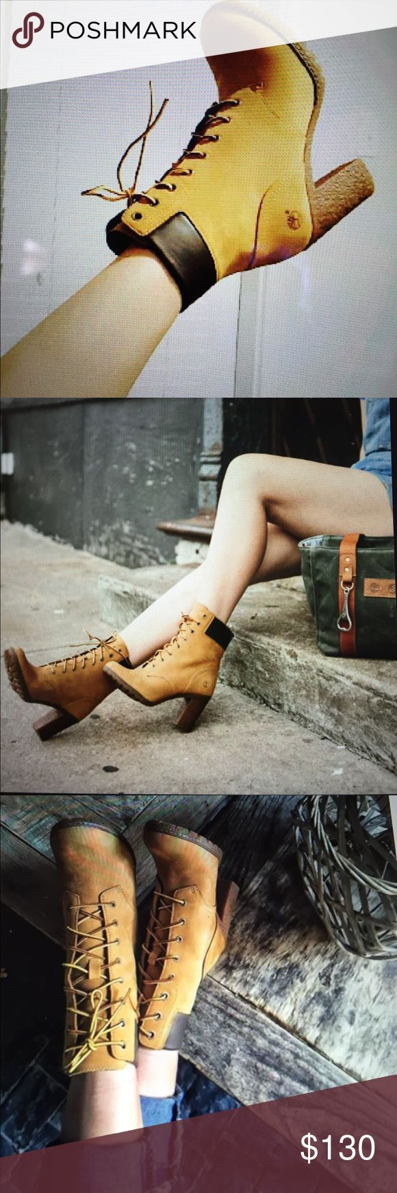 Timberland Glancy Boot in Wheat Sturdy heels and textured lug outsoles let you stride with confidence, while The streamlined lacing blends classic Timberland boot styling with a modern, feminine edge. BNWOT. Never worn in or outdoors. Never tried on. Mint condition Timberland Shoes Heeled Boots