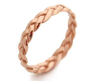 Braided Rose Gold Ring Gold Rings Rose Gold Wedding by MayaMor