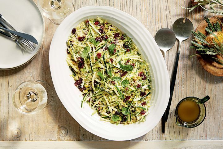 Couscous with zucchini, mint and pistachio