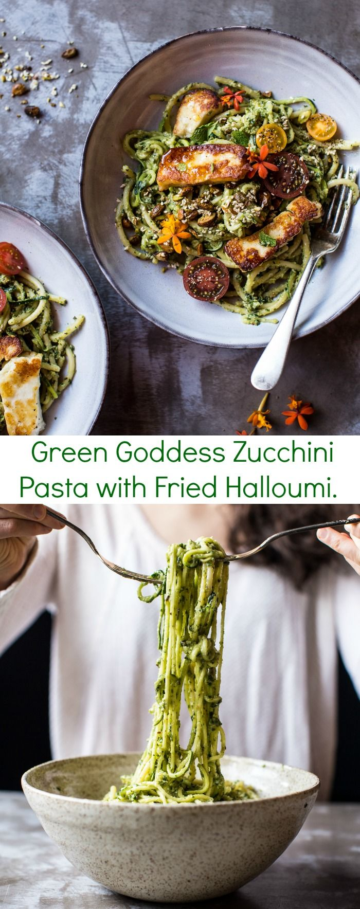 Green Goddess Zucchini Pasta with Fried Halloumi | halfbakedharvest.com @hbharvest. THAT AVOCADO PESTO