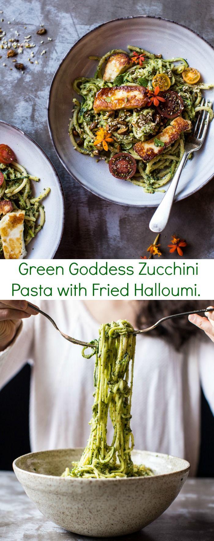 Green Goddess Zucchini Pasta with Fried Halloumi | halfbakedharvest.com @hbharvest. THAT AVOCADO PESTO