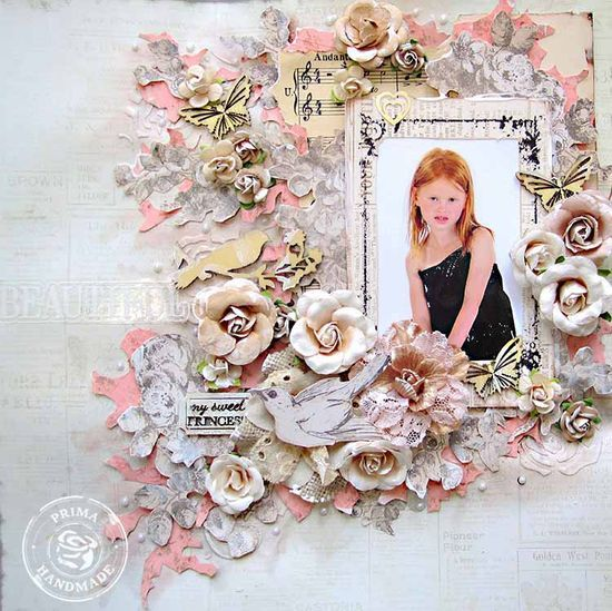 Something Blue isn;t just for wedding photos and sweetheart pics! Keren Tamir used a photo of her lovely daughter on this stunning layout! #girls #scrapbooking #flowers