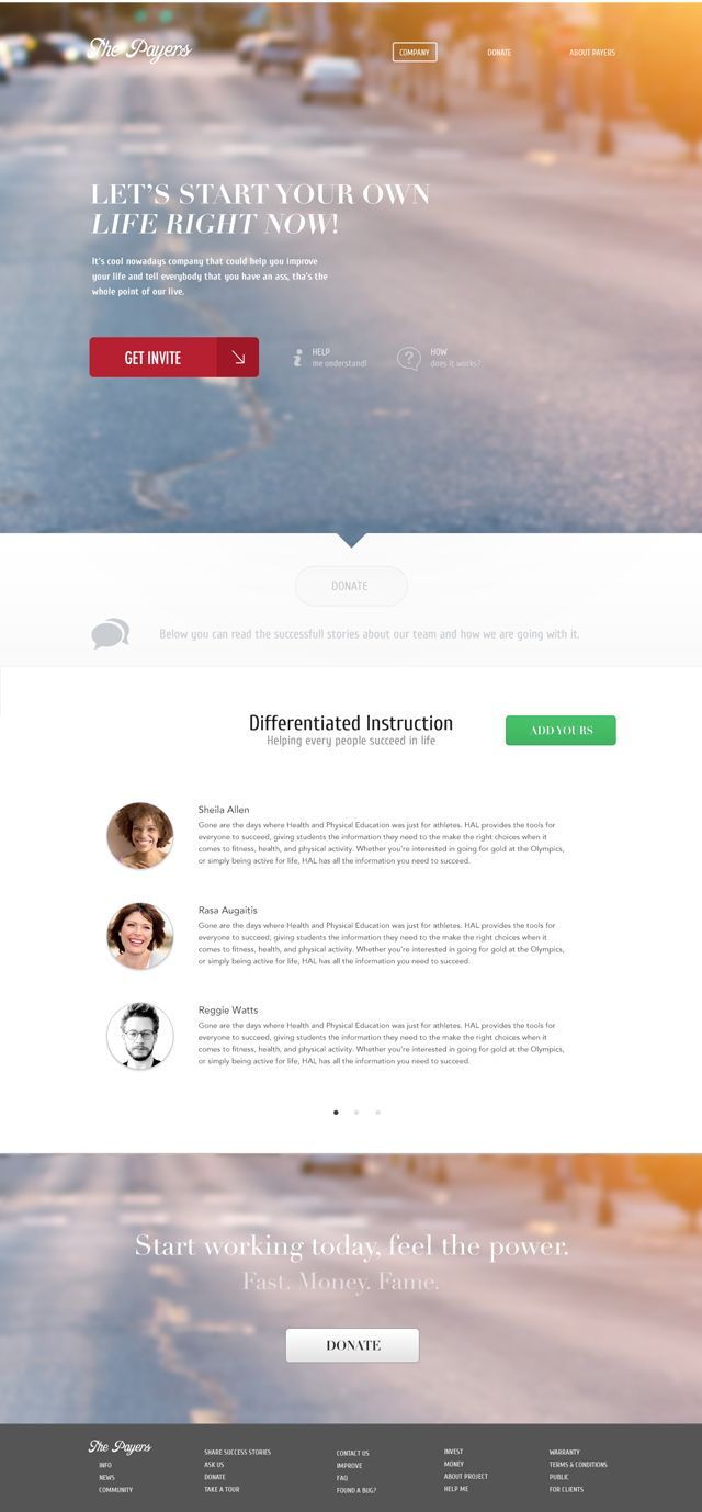 Payers - This template has great homepage ideas for adding a features image, team members, callout and footer.