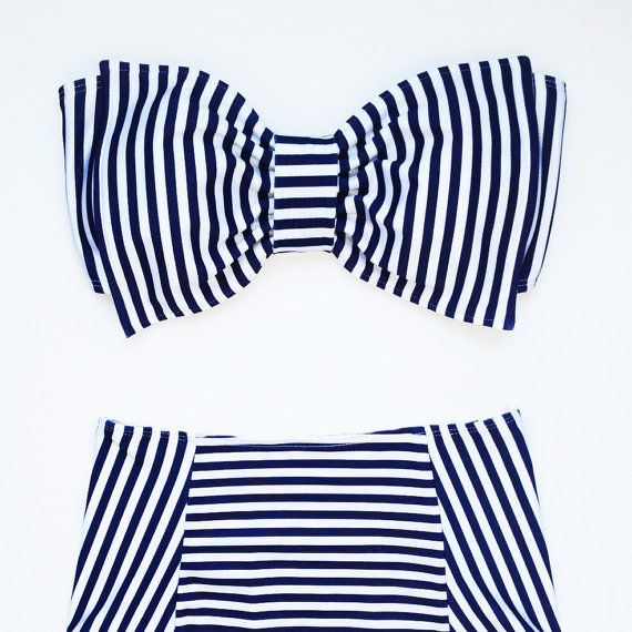 Navy and White Stripe Bow bandeau with High Waist door amourouse, $115.00