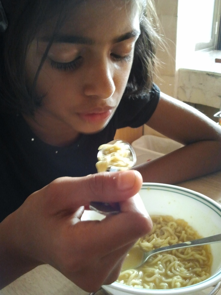 I taught my daughter to make Maggi. As you can see I got the water measure wrong :(