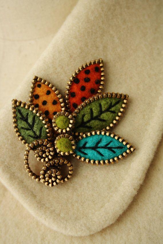 Felt and zipper multi leaf brooch by woollyfabulous on Etsy, $34.00