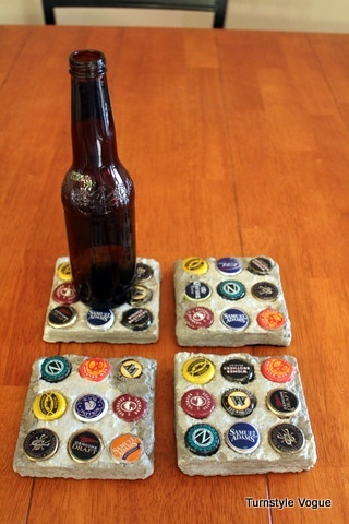 concrete coasters with beer bottle caps, or something similar...