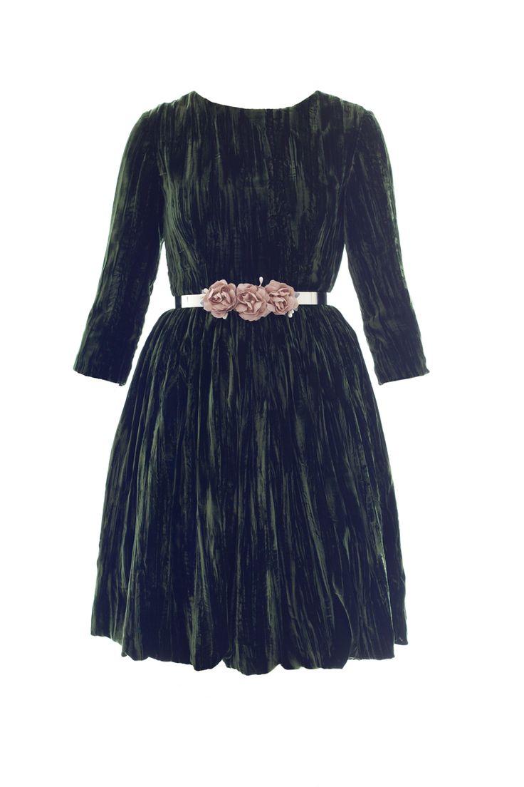 Vestido terciopelo verde oscuro