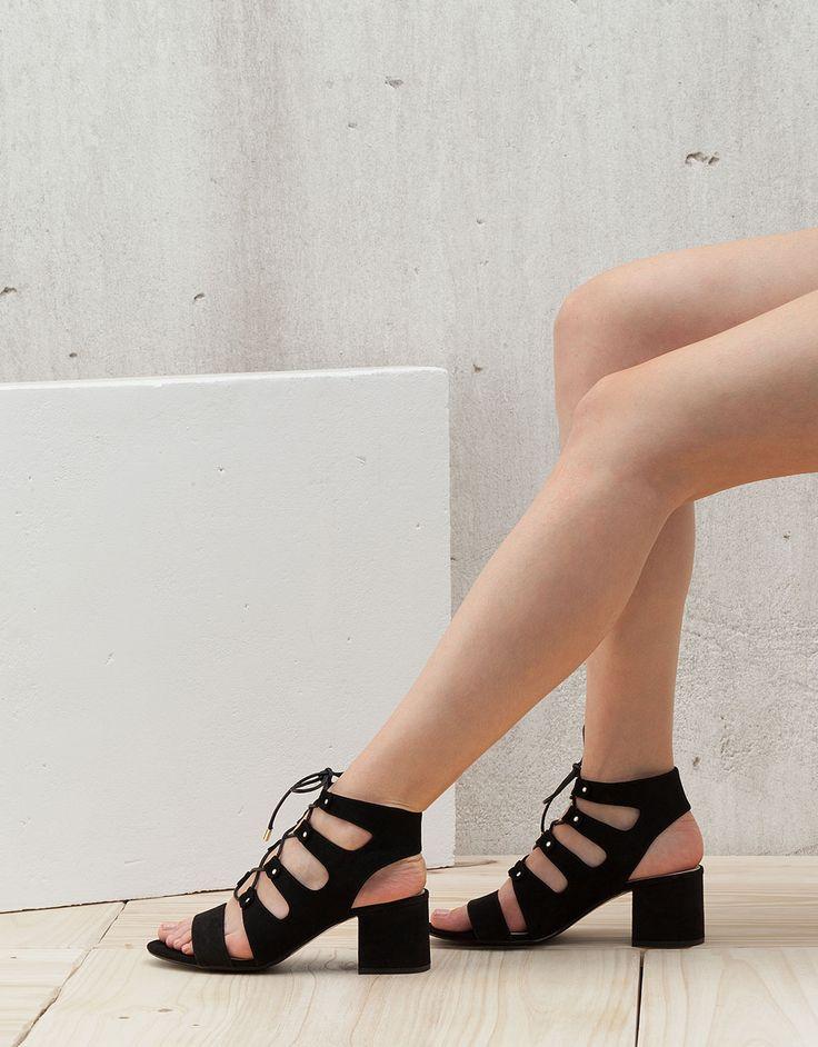 Lace-up low heel sandals - View All - Bershka Croatia HRK349,90 REF 1117/131 Heel height: 5,5 cm.