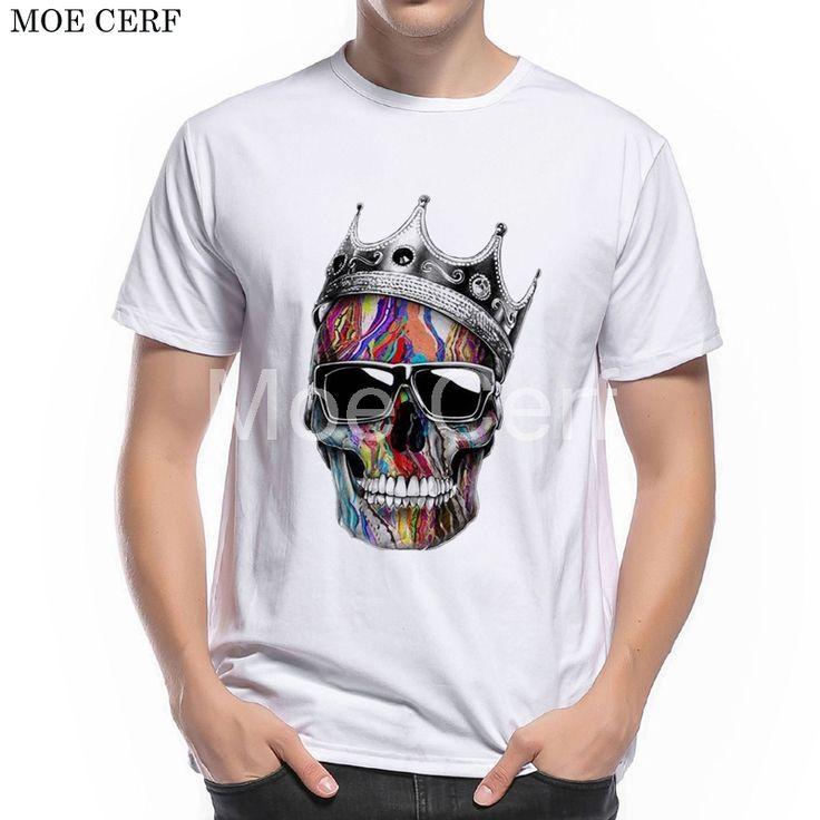 MOE CERF New Fashion 3D Printed King Skull T Shirt Punk Tupac 2pac Music Tee Short Sleeve Tops Street-wear Boy T-shirt  L9-E-37 #Affiliate