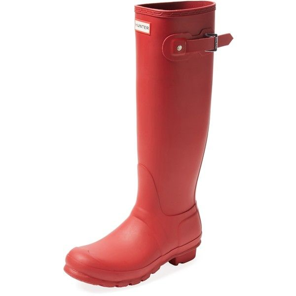 Hunter Women's Original Tall Wellington Rain Boot - Red, Size 3 ($70) ❤ liked on Polyvore featuring shoes, boots, red, rain boots, knee high rubber boots, low-heel boots, knee high platform boots and red boots