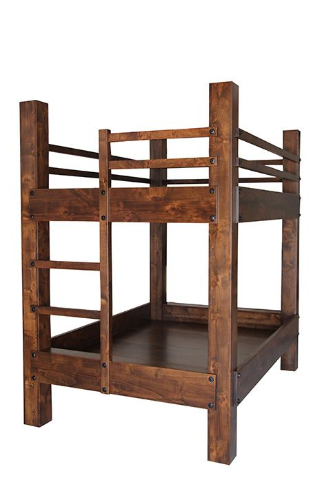 Tall queen over queen bunk bed with integrated ladder. Shown with optional second row of safety rails.