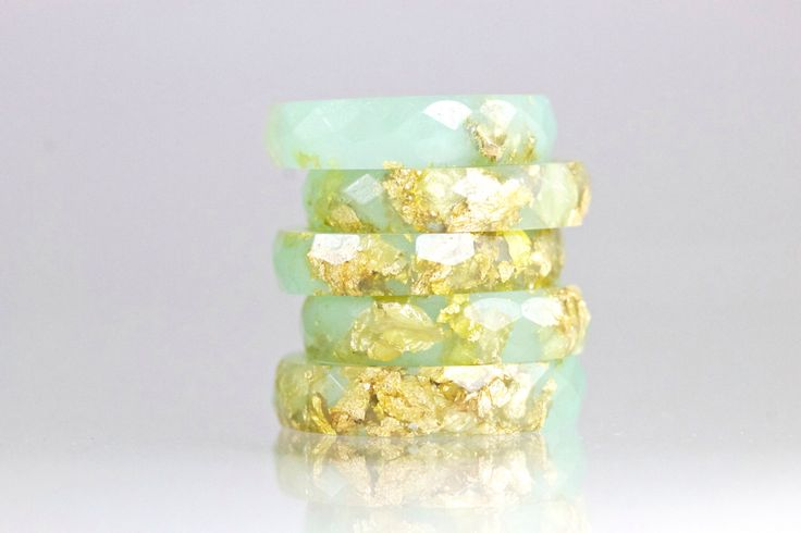 Resin Ring - Jade Green Faceted Eco Resin Ring with Gold Flakes by SloaneJewelryDesign on Etsy https://www.etsy.com/au/listing/184229364/resin-ring-jade-green-faceted-eco-resin