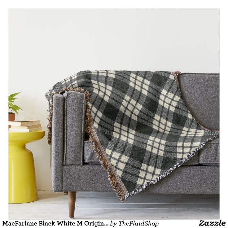 MacFarlane Black White M Original Scottish Tartan Throw Blanket