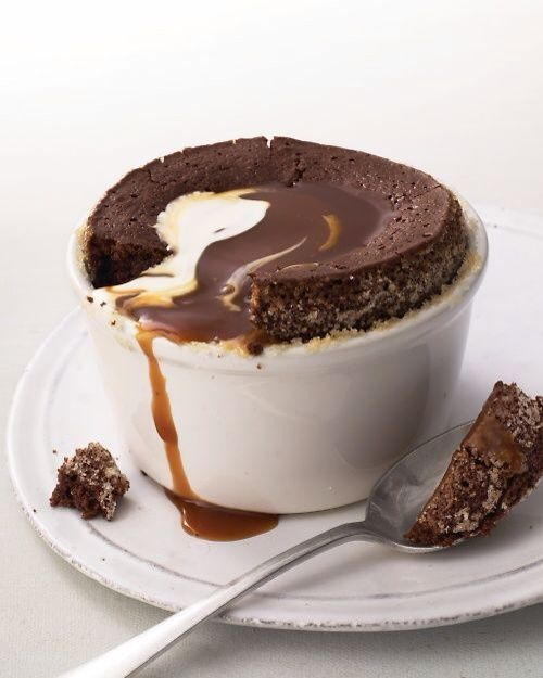warm chocolate pudding cakes w/ caramel sauce