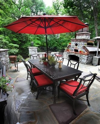 The dining table from restoration hardware and pizza for Restoration hardware outdoor umbrellas