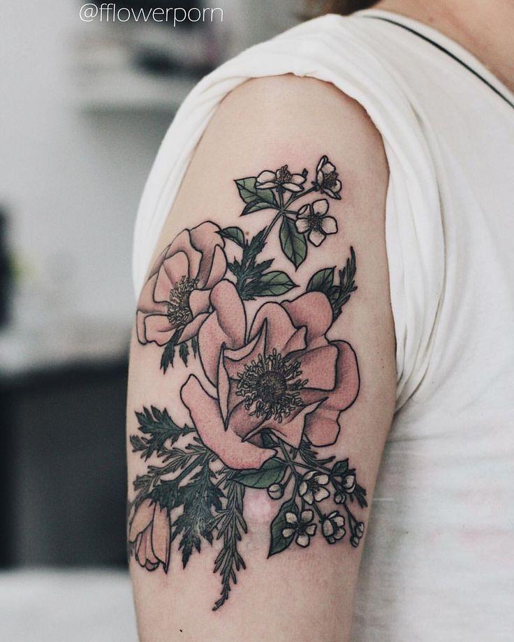 """awesome Olga Nekrasova on Instagram: """"Anemones, apple blossoms and rosemary #tattoo #tattoos #ink #inked #tattooed #tattooist #design #tattooedgirl #art #artist #flower…"""""""