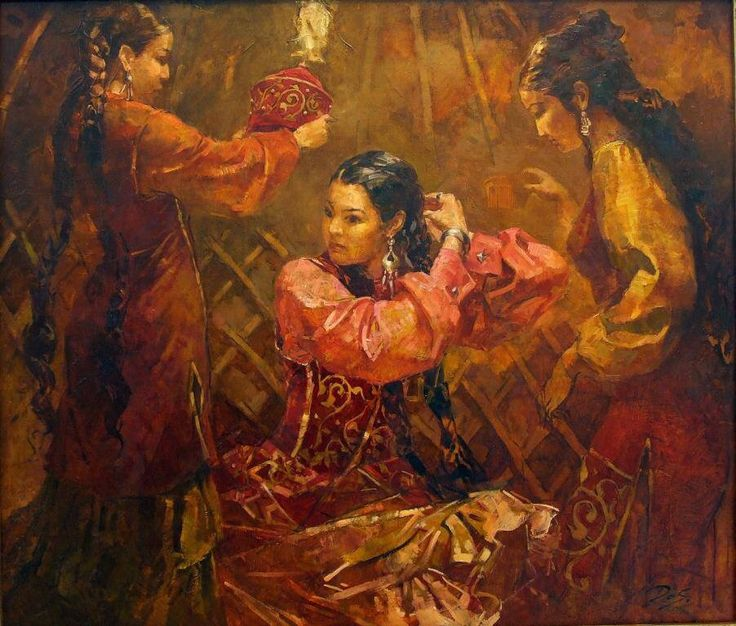 Kazakh painter Dosbol Kassymov. «Shashbauly», i.e. kazakh jewelry for hair decoration made from silver and precious stones