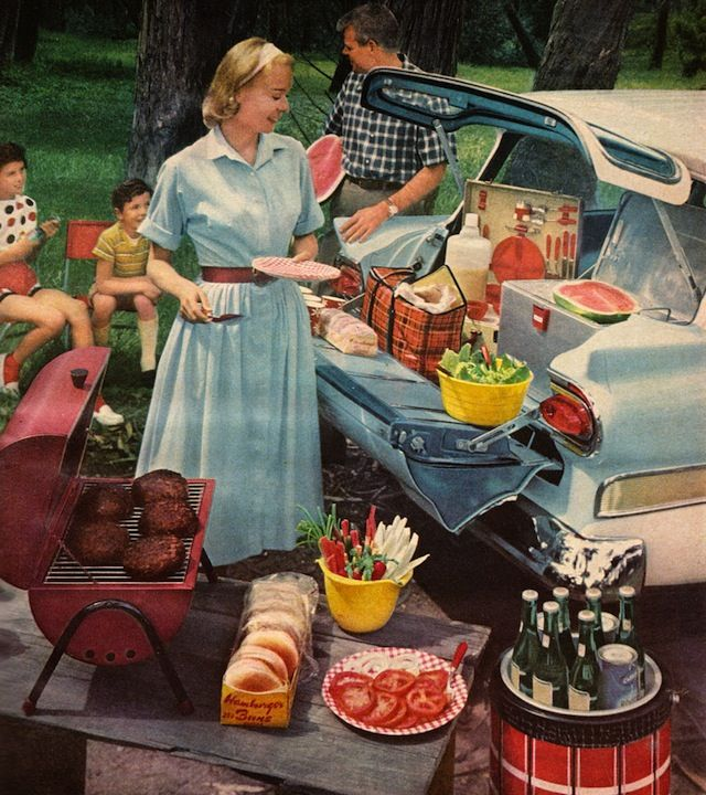 This is how June Cleaver dressed to serve up a BBQ! Better Homes & Gardens…