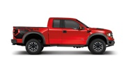 """There's no mistaking the look of the 2012 F-150 SVT Raptor. It features unique brick-wall grille with marker lights, a new wheel design and BFGoodrich® 35"""" all-terrain tires. Also shown are available new boxside graphicsCheck out the Models and Options"""