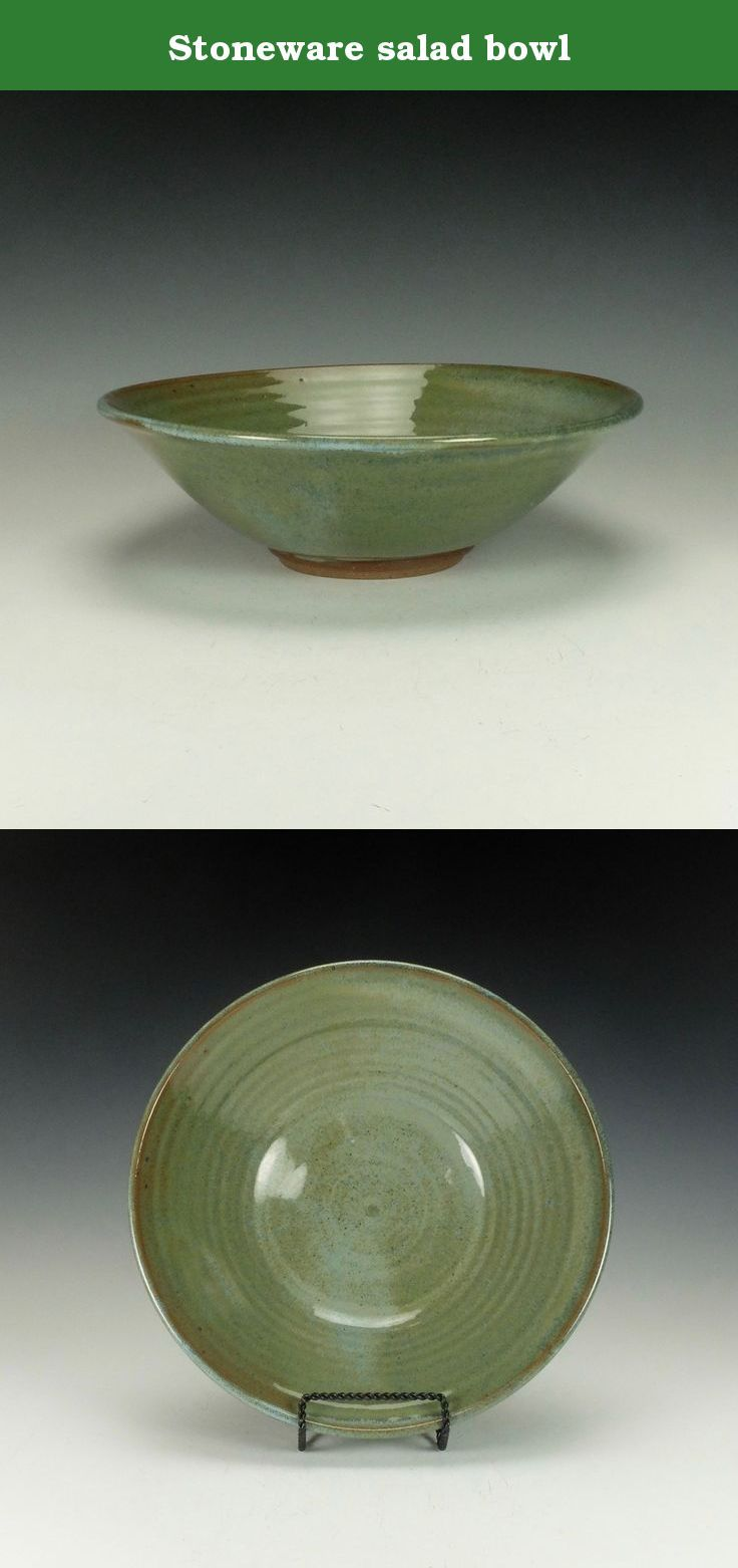 """Stoneware salad bowl. Wheel thrown stoneware salad bowl. Blue/Green gloss glaze. Lead-free, oven, microwave and dishwasher safe. The image is of the actual piece for sale. Signed on the bottom by the artist. The bowl is approximately 3"""" high x 11.5"""" diameter. Ready to ship."""