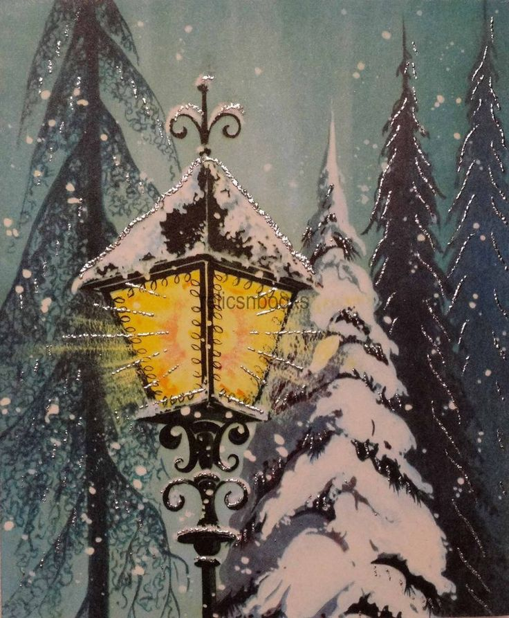 #1593 50s Silver Glittered Lamp Post-Vintage Christmas Card-Greeting