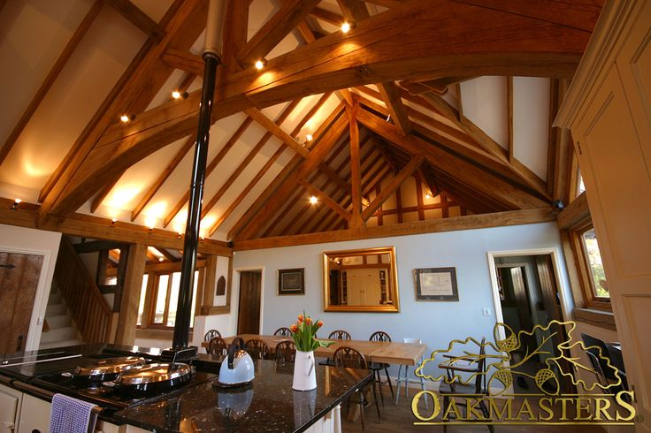 King Post Oak Trusses And Rafters Framing The Ceiling And