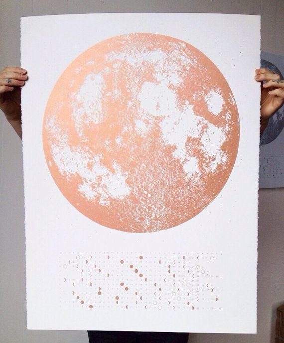 Copper 2015 Moon Phases Calendar, 22x30 large screenprint, also silver gold or grey print on black, pink luna lunar wall art, space, stars