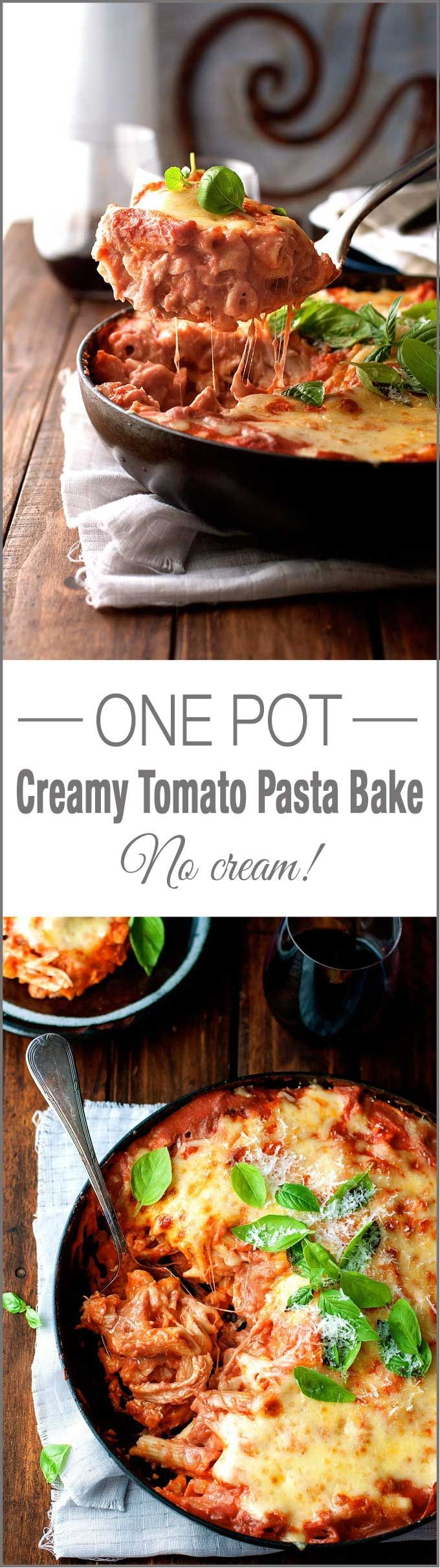 One Pot Creamy Chicken Tomato Pasta Bake - all made in one pot with no cream!