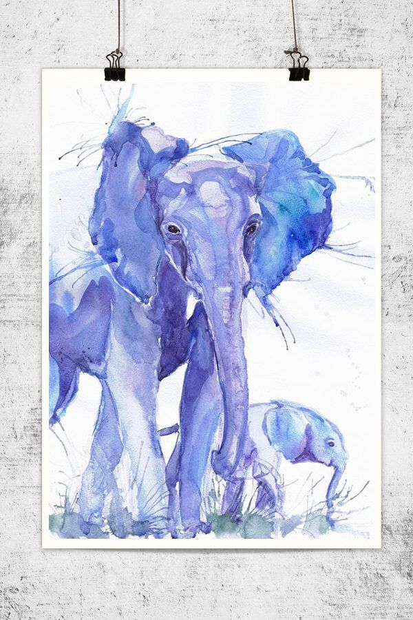 Save the elephants.  Elephant with baby , watercolor, wildlife,   wall decor,  animal art, art print, nursery decor, mothers day gift, children art, Illustration by ValrArt on Etsy https://www.etsy.com/listing/203686493/elephant-with-baby-watercolor-wildlife