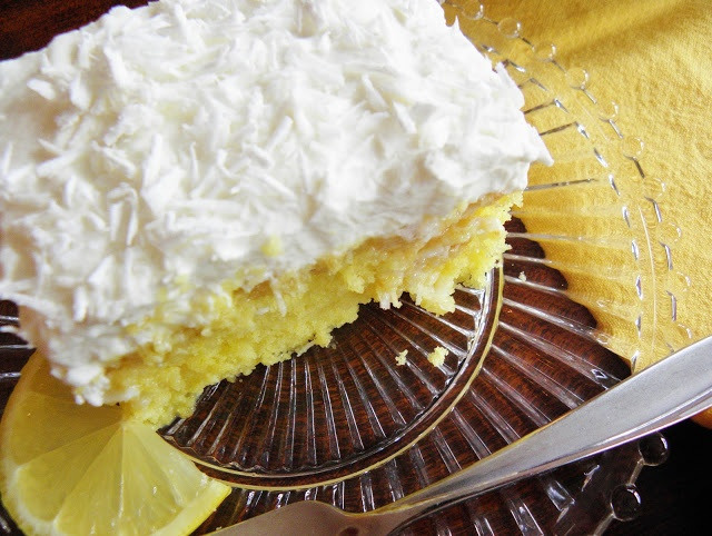The Cozy Little Kitchen: Extra Moist Lemon Coconut Poke Cake
