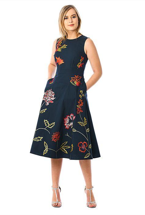 Floral embellished poplin midi dress #eShakti